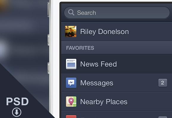 Facebook iOS メニュー