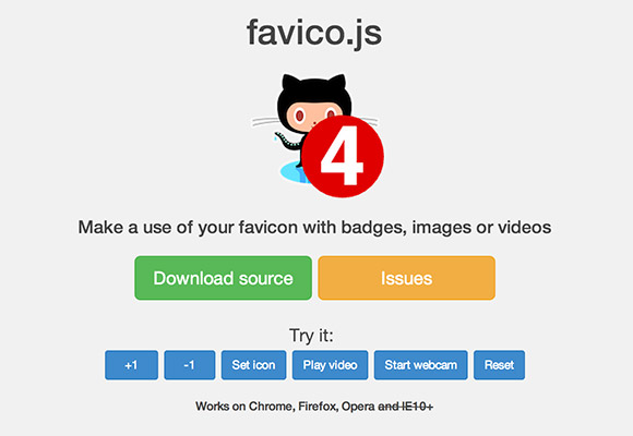 Favico.js - ファビコンのアニメーションのバッジ