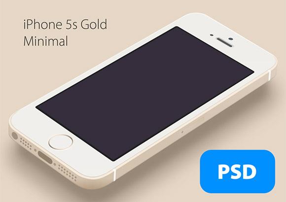 最小限の iPhone5S ゴールド モックアップ