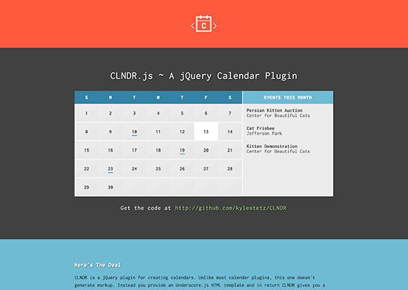 CLNDR.js - jQuery のプラグインのカレンダー