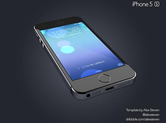 黒い iPhone 5S モックアップ
