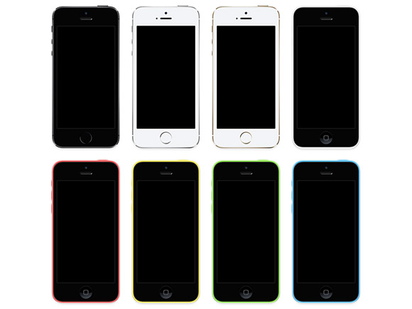 iPhone5s + iPhone5c のモックアップ