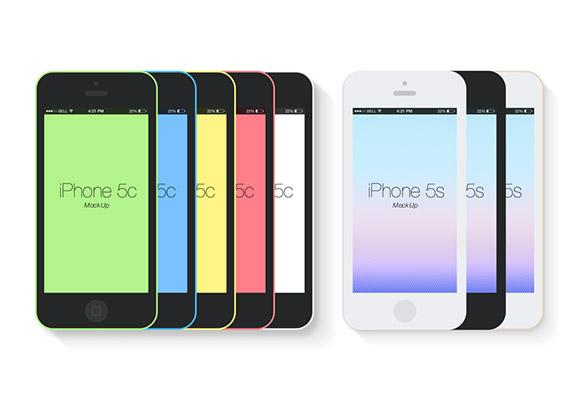平らな iPhone 5 c & s の実物大模型