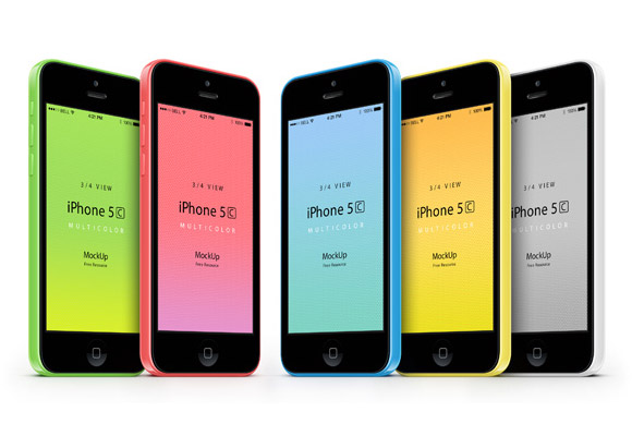 iPhone5C モックアップ - 3/4 ビュー