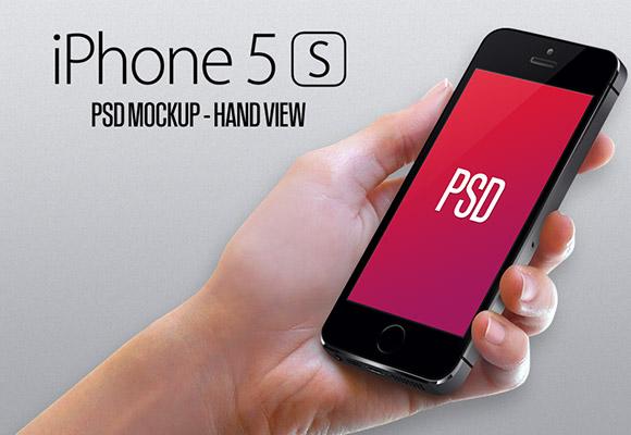 iPhone5S 手ビュー モックアップ