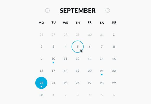 円形のカレンダー - PSD + HTML