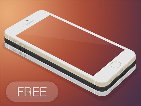 IPhone5s フラット 3 D モックアップ