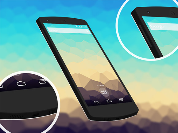 3 D の平らな Nexus5 のモックアップiOS7 計算された GUI テンプレート3 D の平らな Nexus5 のモックアップ