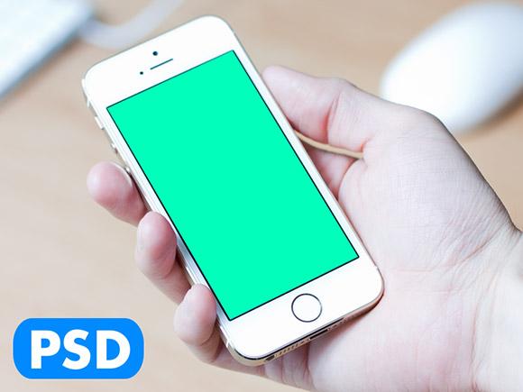 iPhone5S の保有物手のモックアップ