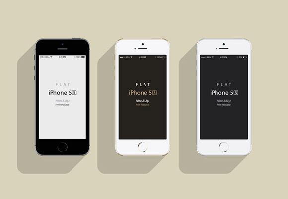 iPhone5S - フラットなデザインのモックアップ