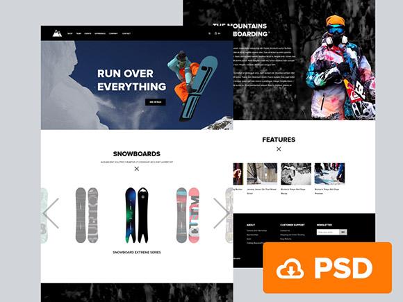 スノーボード - PSD のウェブサイト テンプレート