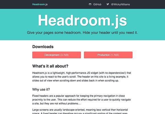 Headroom.js - ヘッダーを隠すためのプラグイン