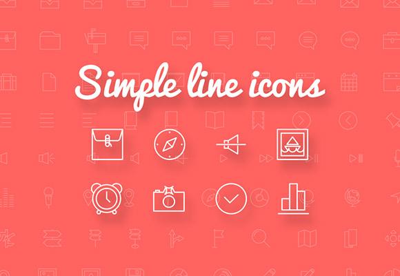 単純な線アイコン - 100 + 無料