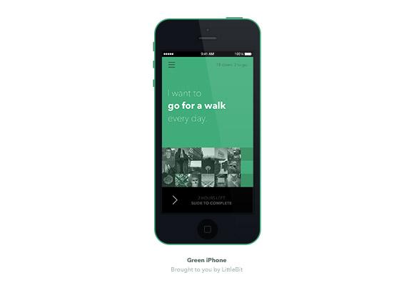 緑 iPhone 5 C モックアップ