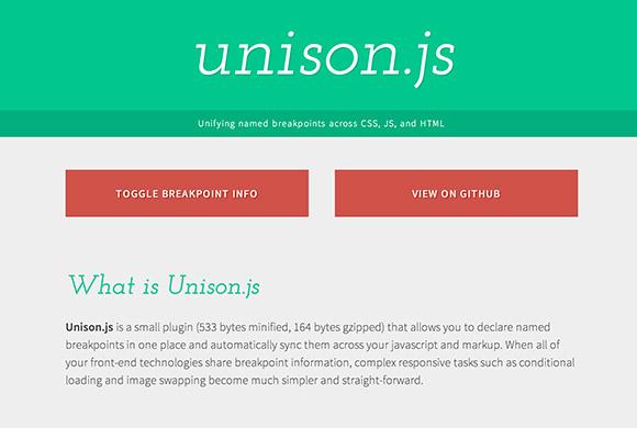Unison.js - 名ブレークポイントをプラグイン