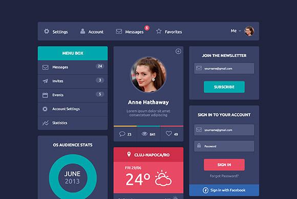 フラット デザイン UI - HTML5 + CSS3