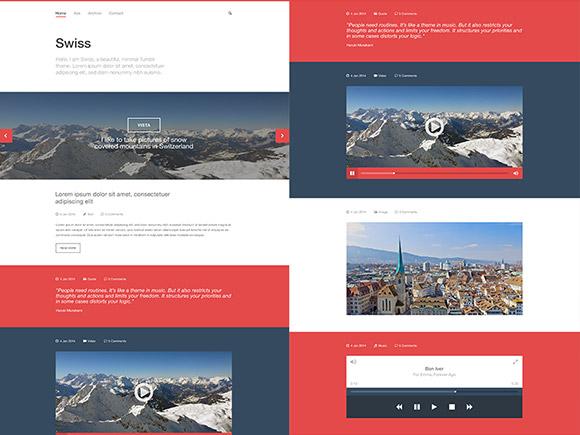 スイス - 無料の PSD Tumblr テンプレート