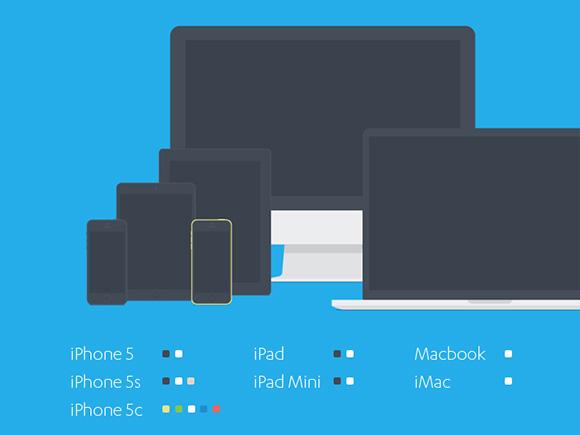 フラット アップル デバイスのモックアップのセット