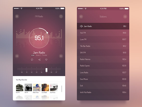 IOS7 の FM ラジオ UI