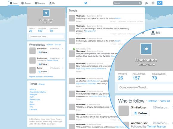 Twitter の GUI デザインの psd ファイル